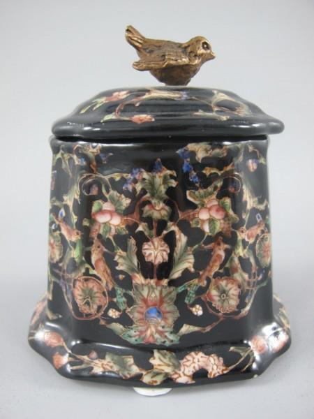 Box schwarz Porzellan/Messing H.11x10x9cm