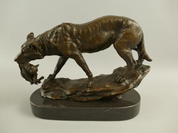Bronze Figur Wolf mit Jungtier H.20x24cm