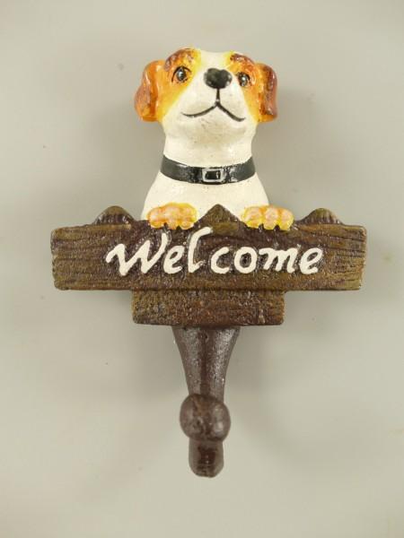 Garderobenhaken Hund Welcome Eisen Farbig H.14cm