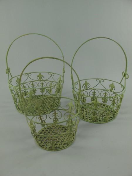 Korbset Eisen grün Set/3 H.35/39/42-D.24/28/33cm