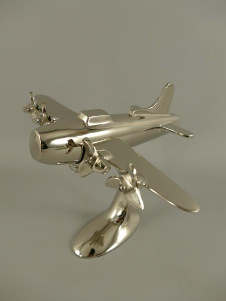 Flugzeug Aluminium vernickelt L.22x26cm