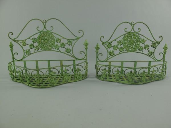 Wandhanger Eisen grün Set/2 H.28/30-L.37/41cm