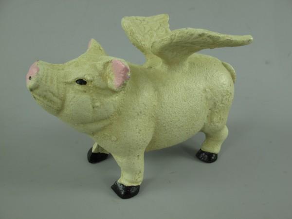 Schwein mit Flügeln Eisen FARBIG!!! L.16x12cm