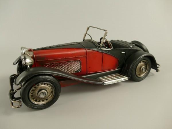 Auto schwarz/rot Antik Eisen L.29x10x11cm
