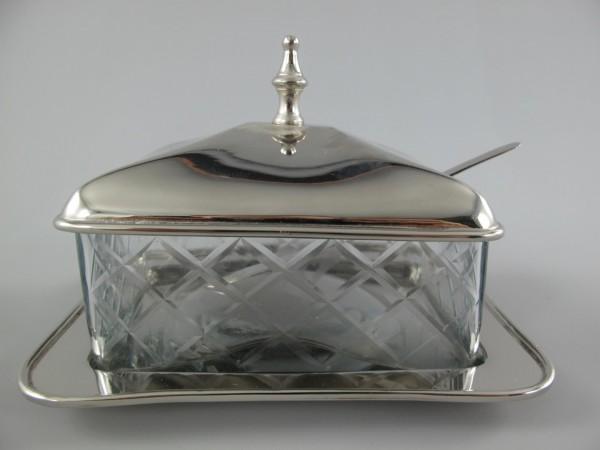 Butterschale vernickelt Geschliffen Glass L.16cm