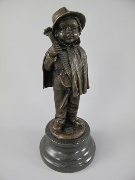 Bronze Figur Mann mit Viool H.22x10cm