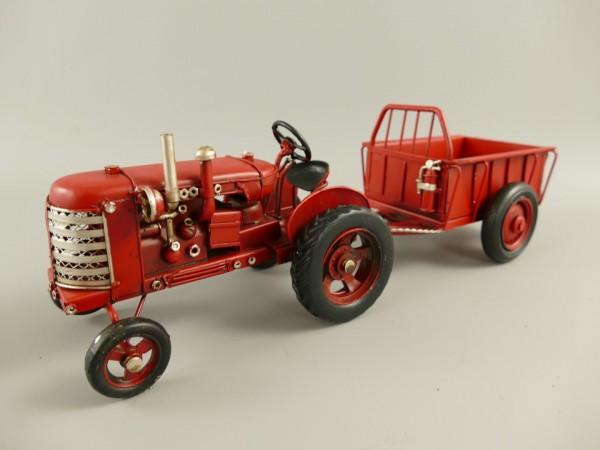 Traktor mit anhänger Antik Eisen L.32x10cm