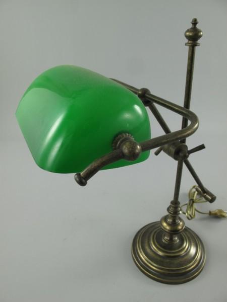 Bankerslampe Messing brüniert Glas grün H.50cm