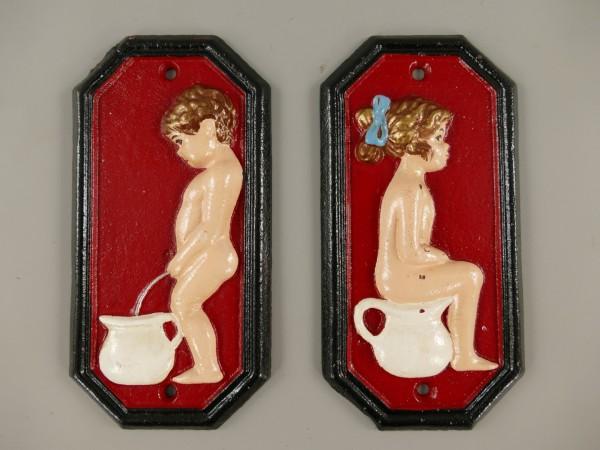 Schild Eisen rot Toilet Man/Frau H.17x9cm SET!