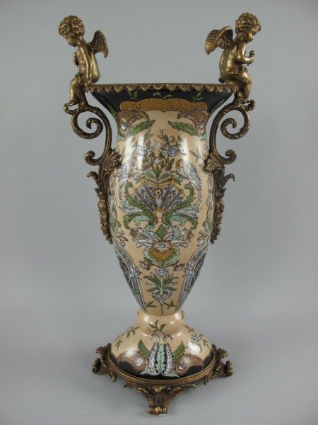 Vase Engel Porzellan/Messing H.50x25cm