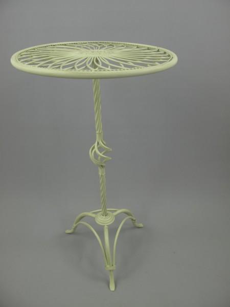 Tisch Eisen rund Antik weiss H.70-D.40cm
