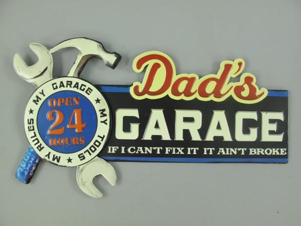 Wandschild(Gestanzt) Eisen Dad's Garage L.49x27cm