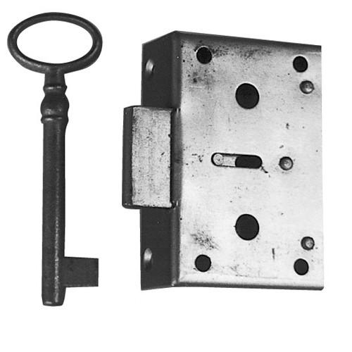 Kastenschloß Eisen mit Schlüssel Dornmaß 80mm