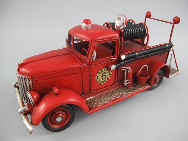 Feuerwehrwagen Antik Eisen L.30x14x12cm
