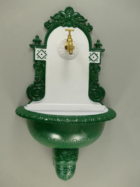 Wandbrunnen Alu Guß grün/weiß H.72cm