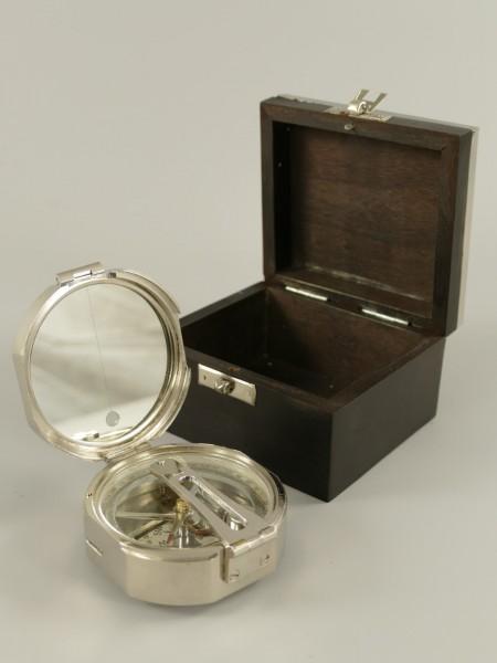 Peilkompass vernickelt Holzbox D.12cm