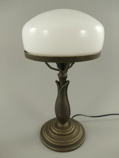 Pilzlampe Messing brün.(Glas farb. weiss) H.38cm