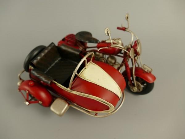 Motorrad mit Beiwagen Antik Eisen L.19x11cm