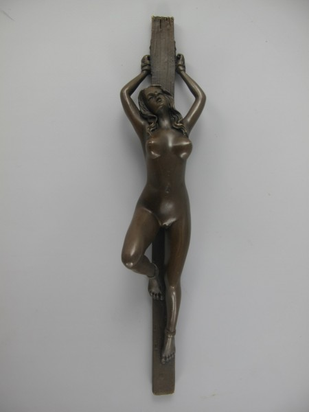 Figur Bronze Liegende Frau H.28x6cm