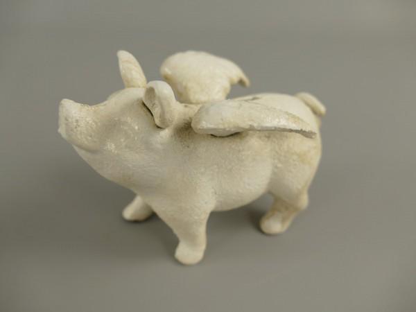 Sparschwein mit Flügeln Small Eisen L.10x7cm