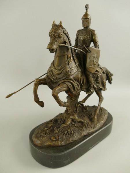 Bronze Figur pferd ritter H.28x22cm