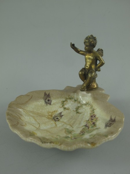 Porzellan/Messing FARBE Schale figur H.11x14cm