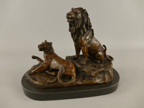 Bronze Figur Löwe & Panter L.37x28cm