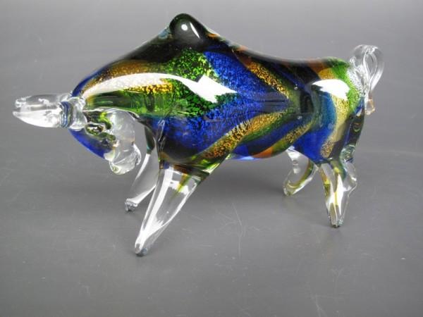 Glasfigur Bülle farbe blau L.25cm