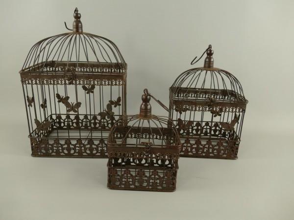 Käfig(eckig) Eisen Rust. braun Set/3 H.43/34/25cm