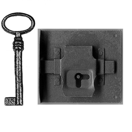 Einlaßschloß/Schlüssel Eisen rechts Dornmaß 70mm