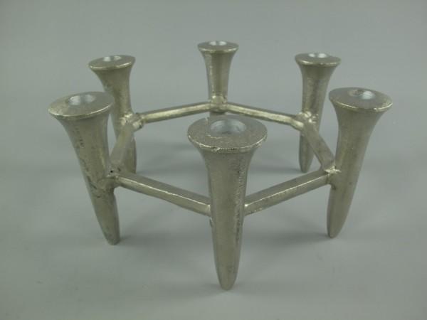 RAUS*PREIS Vernickelter Leuchter 6-flam. H.14x30cm