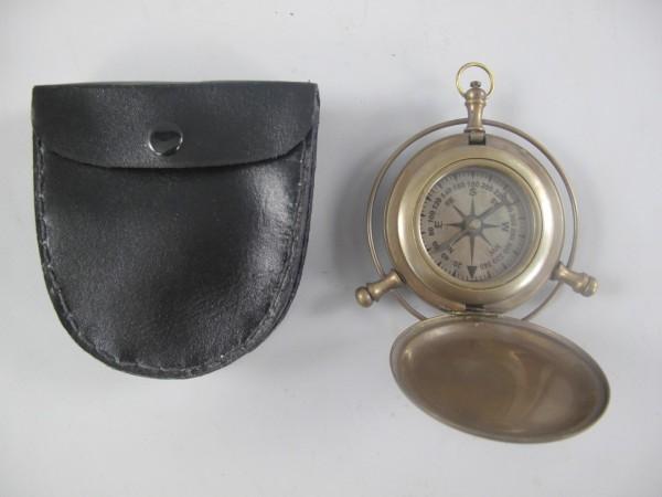 Kompass Messing brüniert Box Leder D.9cm