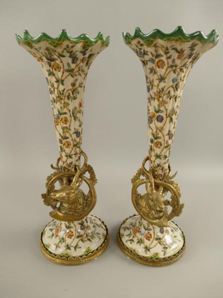 Vase FARBE Porzellan/Messing Set H.34x12cm