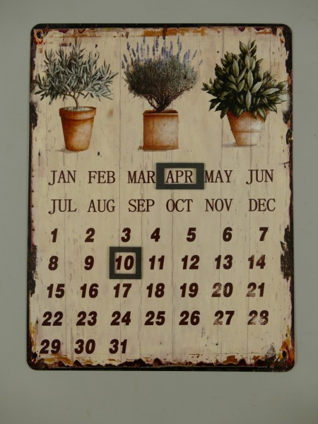Jahreskalender Antik Eisen H.33x25cm