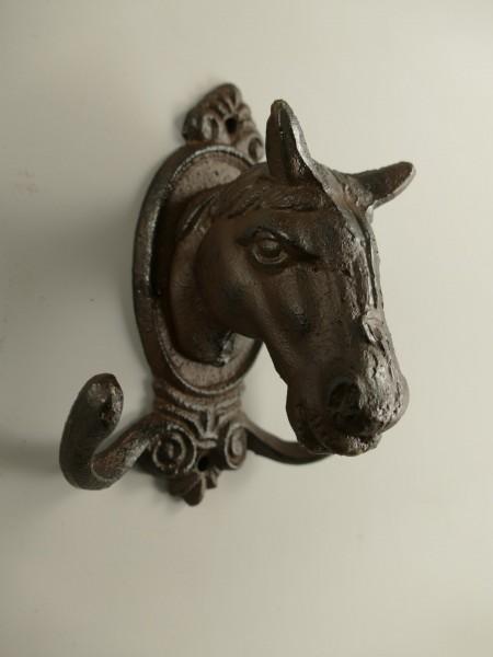 Wandhaken Pferd rustikal braun H.15cm
