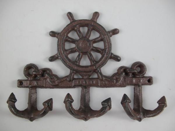 Wandhaken Eisen rust. braun Schiffssteuerad L.23cm