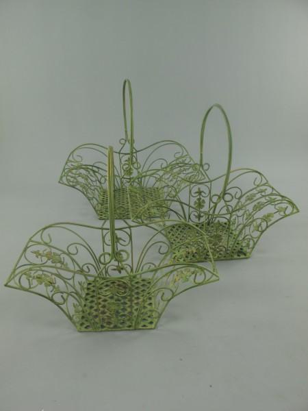 Korbset Eisen grün Set/3 H.38/41/43-L.41/44/47cm