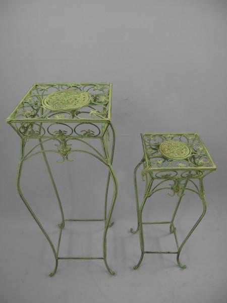 Tisch Eisen Rust. grün Set/2 H.70/55-D.29-20cm