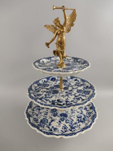Porzellan/Messing Etagere 3*tlg. blau H.50cm