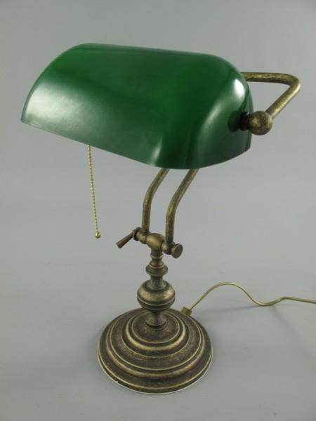 Bankerslampe Messing brüniert Glas grün H.45cm