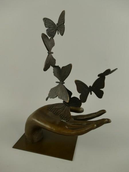 Figur Bronze Hand mit Schmetterlingen H.35x25cm