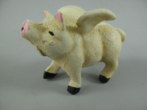 Schwein mit Flügeln Small Eisen FARBIG L.10x7cm
