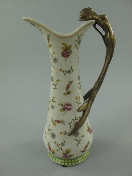 ???Vase Porzellan/Mess. grün/Rosen H.25cm