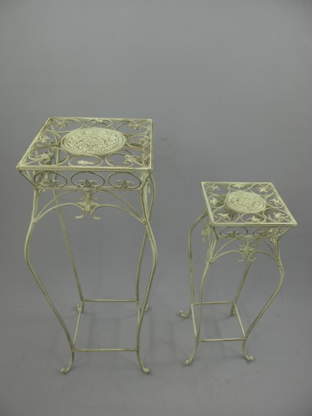 Tisch Eisen Rust. weiss Set/2 H.70/55-D.29-20cm