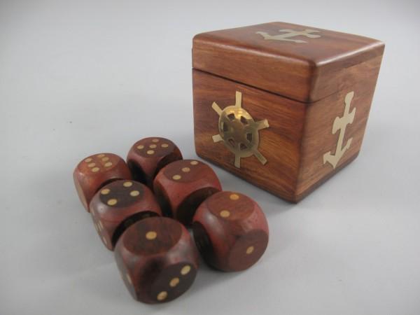 Würfel(6St.) im Holzbox (motiv Nautic) 7x7x7cm