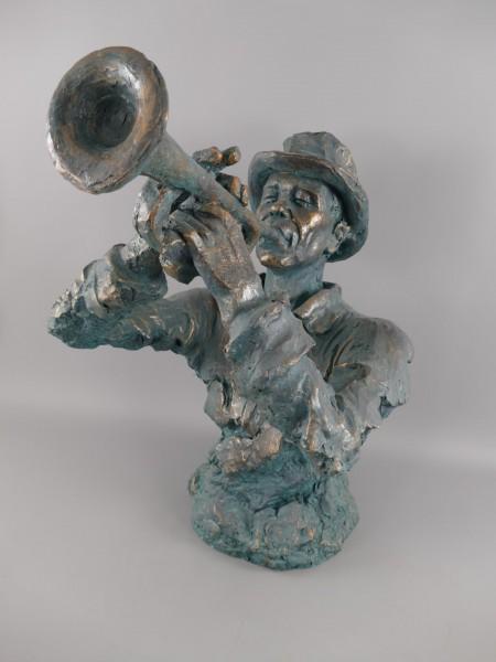 Figur Polystein Musikant Trumpet farbig H.75x50cm