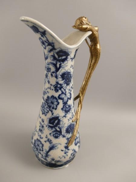 Vase Porzellan mit Messing BLAU!! H.25cm