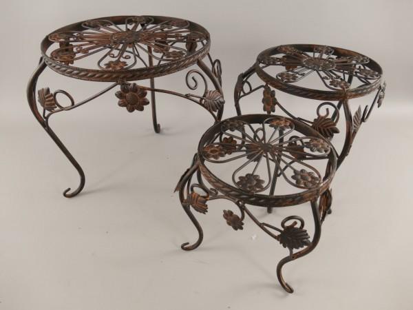 Tisch Eisen Rust. braun Set/3 H.23/28/32-D.22-36cm