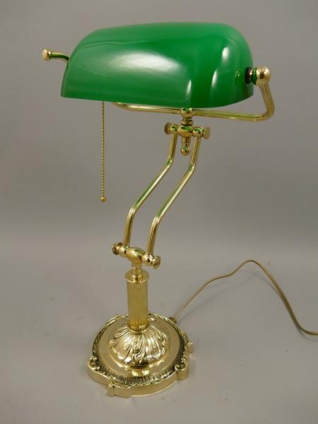 Bankerslampe Messing Glas grün H.45cm