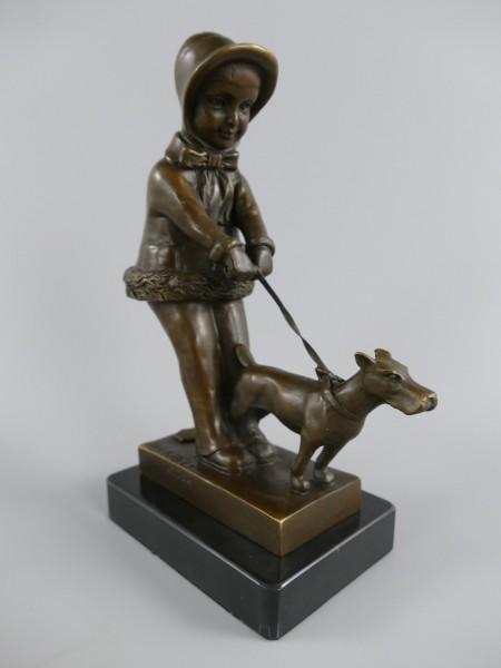 Figur Bronze Kind mit Hund H.22x15cm